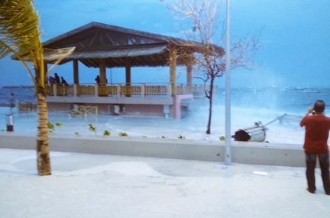 Tidal surges wreak havoc at Malé's new artificial beach