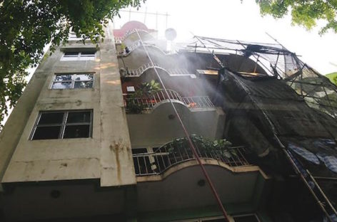 No injuries in fire at seventh-floor terrace