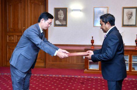 New Chinese ambassador presents credentials amid criticism of Sino-Maldives ties