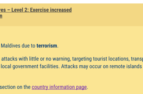 US issues Maldives travel advisory over terrorism