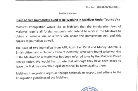 Maldives says respect our laws as journalists set to be deported