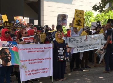 Opposition supporters protest in Sri Lanka
