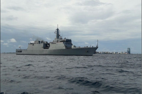 Indian navy vessel in joint patrol of Maldivian waters