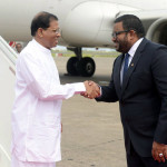 Sri Lankan President Srisena arrives in Malé
